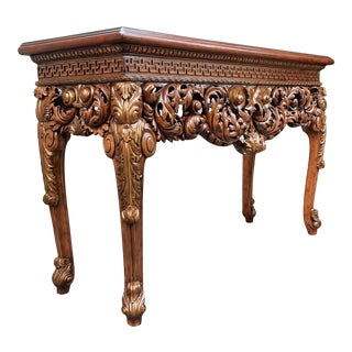 Vintage Theodore Alexander Althorp Carved Wood Gilded Console Table For Sale