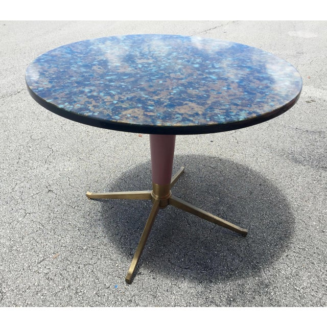 1960s Bistro Style Resin Brass Pedestal Base Dining Table For Sale - Image 9 of 9