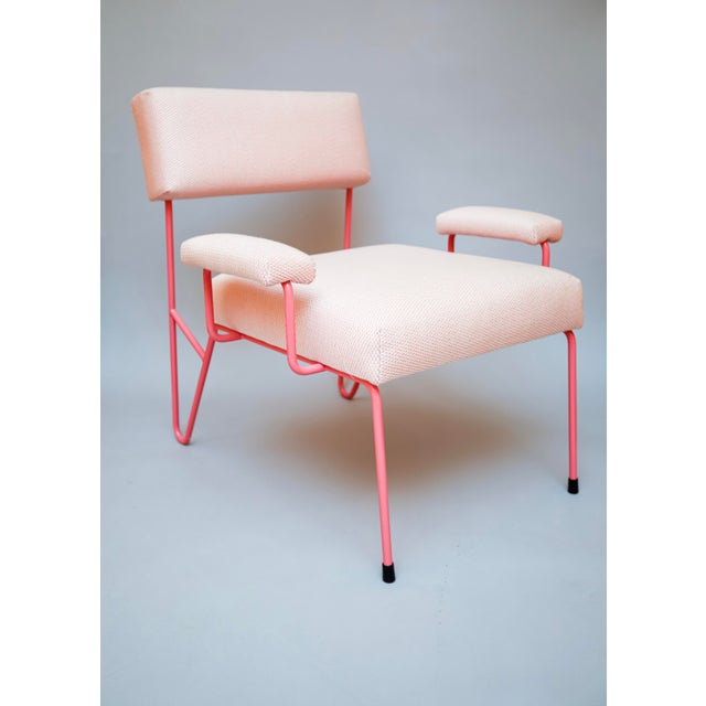 Alex Outdoor Lounge Side Club Chair, Pink Upholstered Sunbrella with Pink Stainless Steel Powder Coated Base For Sale In Los Angeles - Image 6 of 6