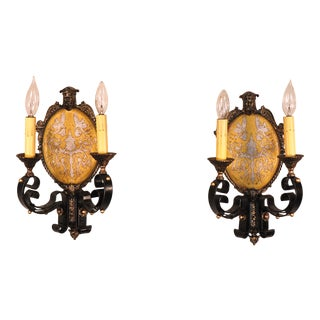 A Pair of Circa 1920 Edward Riddle Company Spanish Revival Sconces For Sale