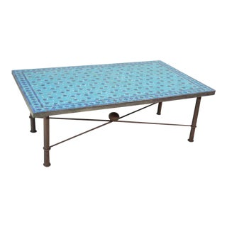 Vintage Moroccan Mosaic Blue Tile Rectangular Coffee Table For Sale