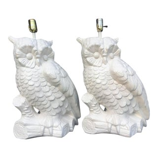 Large Chalkware Owl Lamp - 1 Lamp For Sale