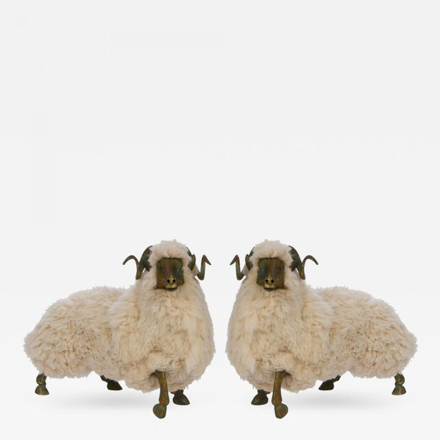 Solid Bronze & Fur Sheep Sculpture For Sale - Image 4 of 5