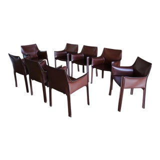 Mario Bellini for Cassina Brown Leather Cab Dining Armchairs - Set of 8 For Sale