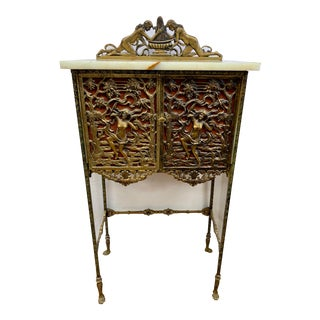 Antique Bronze and Onyx Telephone Stand Cabinet Table For Sale