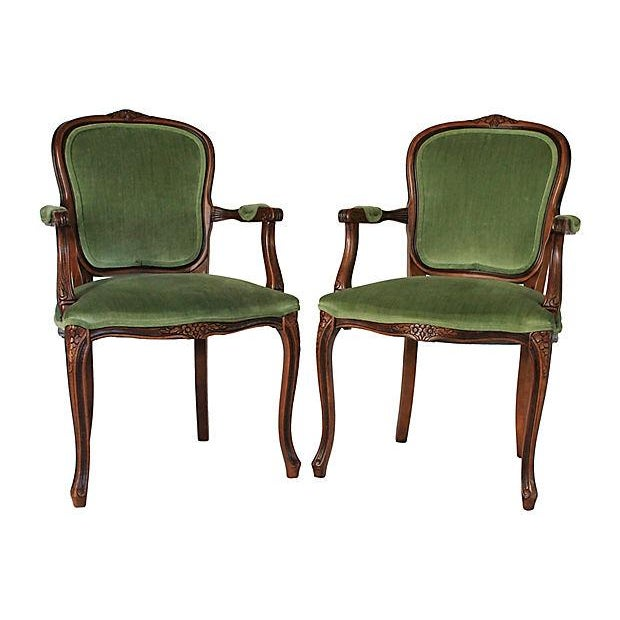 Upholstered Green Fauteuils - Pair - Image 2 of 10