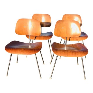1960s Mid Century Modern Eames Dcm Bentwood Dining Chairs - Set of 4 For Sale