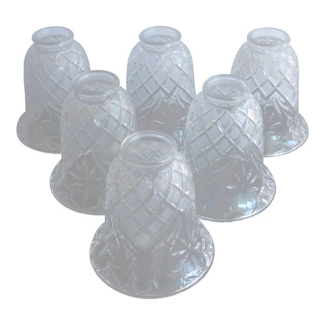Vintage Cut Glass Light Shade Covers - Set of 6 For Sale