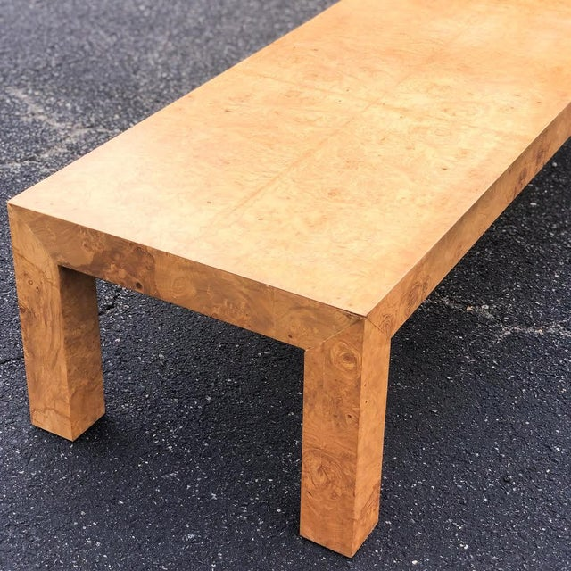 Milo Baughman Mid-Century Modern Parsons Burlwood Coffee Table For Sale - Image 4 of 8