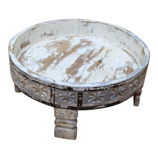 Antique Indian Wooden Round Coffee Table Grinder Table For Sale