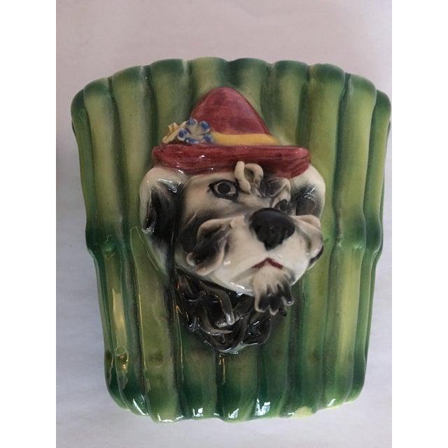 Italian Terrier Dog & Bamboo Wall Pockets - A Pair - Image 4 of 11