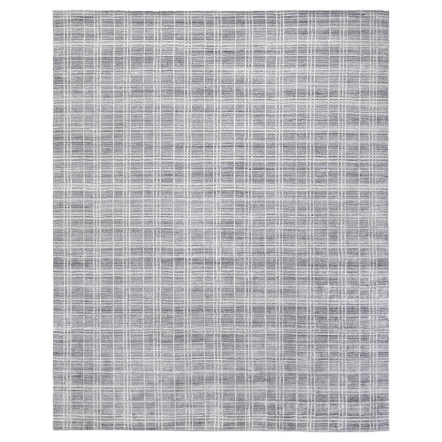 """Cambridge Hand loom Bamboo/Silk Blue/White Rug-14'x18"""" For Sale - Image 9 of 9"""