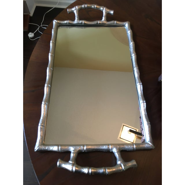 Asian Asian Modern Silver Bamboo Mirrored Tray With Handles For Sale - Image 3 of 9