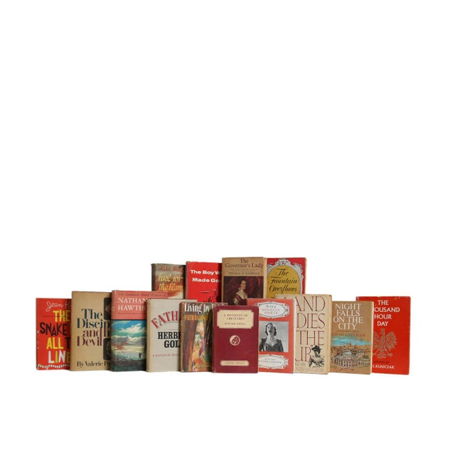 Garnet & Wheat Midcentury Dustjacket Mix, S/20. Twenty midcentury era books featuring a variety of midcentury novels - all...