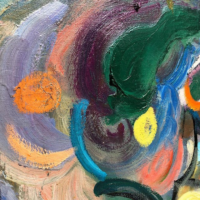 Large Scale Bold Colorful Mid-Century Abstract Painting Oil on Canvas - Russia For Sale - Image 4 of 5