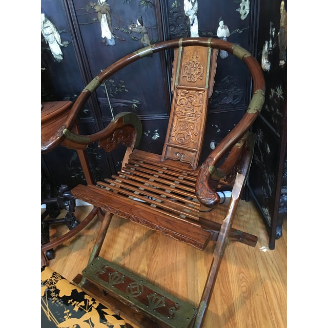Chinese Carved Rosewood Folding Chairs - A Pair - Image 3 of 11