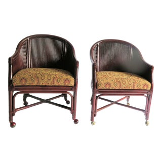1970s Vintage Bamboo Side Chairs- A Pair For Sale