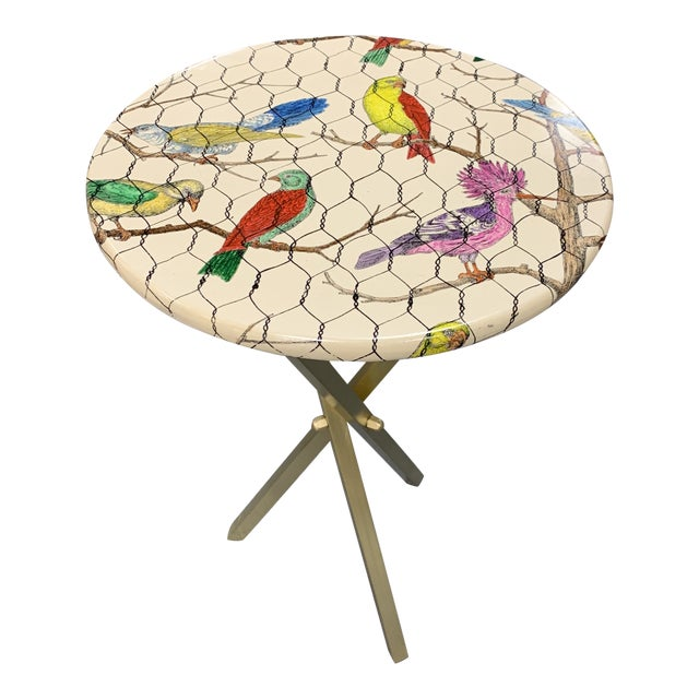 20th Century Italian Piero Fornasetti Colorful Birds Side Table For Sale