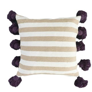 Beige & Eggplant Pompom Pillow Cover For Sale