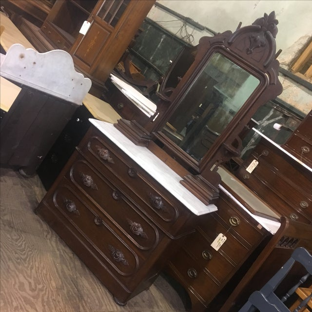 Antique Victorian Marble Top Dresser and Mirror - Image 2 of 12