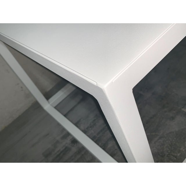 New Modern Rectangular White Table With Metal Top, Indoor or Outdoor For Sale - Image 11 of 12