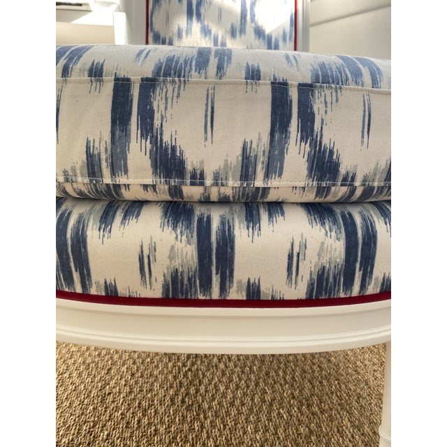 Highland House Blue Ikat Slipper Chair For Sale - Image 4 of 5