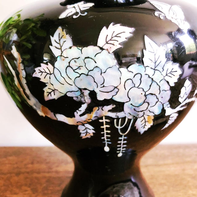 Vintage Japanese Brass and Black Enamel Vase With Mother of Pearl Inlay For Sale - Image 4 of 7