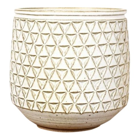 Modern Christian Boehr White Glaze Ceramic Stoneware Planter For Sale