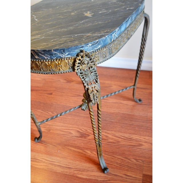 Louis XV Style Wrought Iron Garden Oval Side Table With Thick Marble Top. For Sale In Buffalo - Image 6 of 9