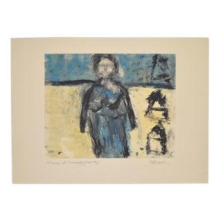 "Arthur Krakower (1921-2009) ""Mama at Rockaway"" Original Monotype C.2003 For Sale"