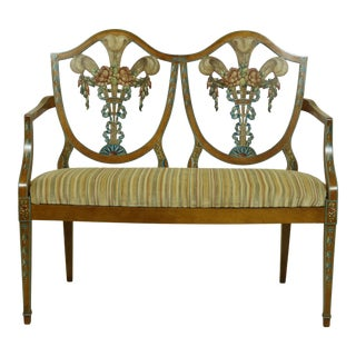 Adams Style Paint Decorated Double Shield Back Settee For Sale