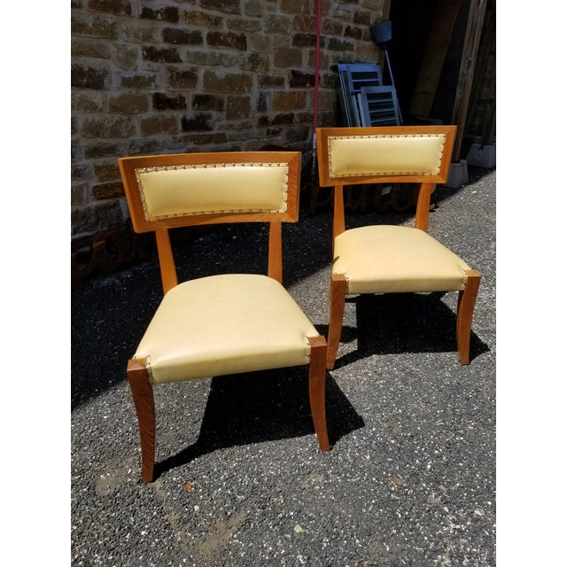 Modern Pair of Yellow Leather Side Chairs by Ironies For Sale - Image 3 of 9