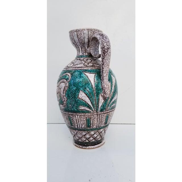 Italian Italian Hand Painting Studio Pottery Vase For Sale - Image 3 of 12