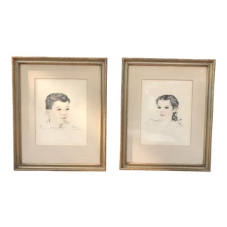 Mid-20th Century Children's Portrait Drawings - Set of 2 For Sale
