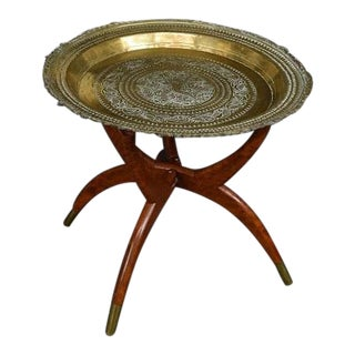 Vintage 1950 Mid Century Asian Moroccan Style Brass Tray Table ~ Coffee Table #2 For Sale