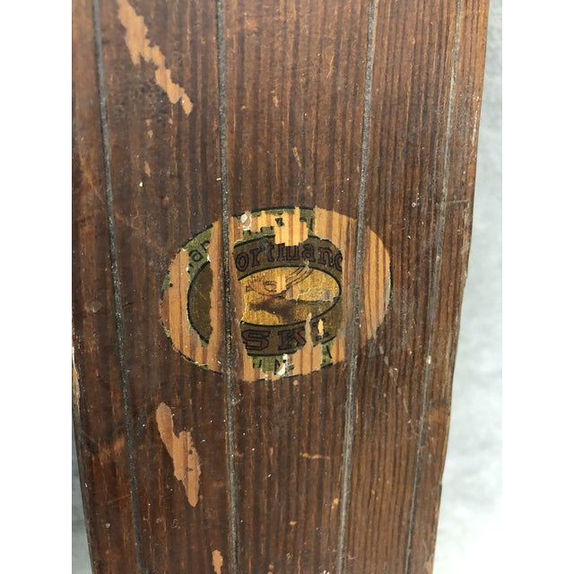 Vintage Rustic Wood Skis - a Pair For Sale - Image 11 of 13