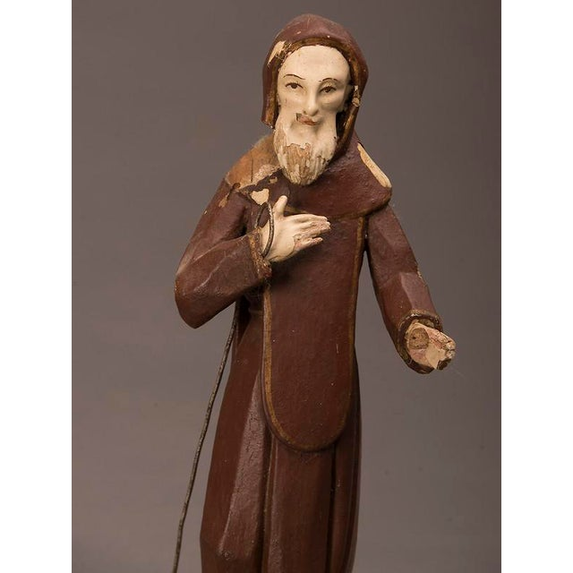 19th century Spanish Carved & Painted St. Francis of Assisi Statue For Sale In Houston - Image 6 of 6