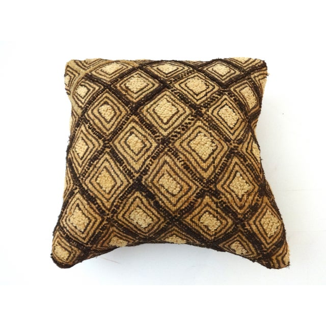 African Embroidered Kuba Textile Pillow Congo For Sale In New York - Image 6 of 6