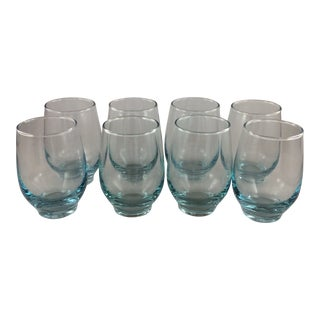 Mid Century Libbey Aqua Tempo Tumblers - Set of 8 For Sale