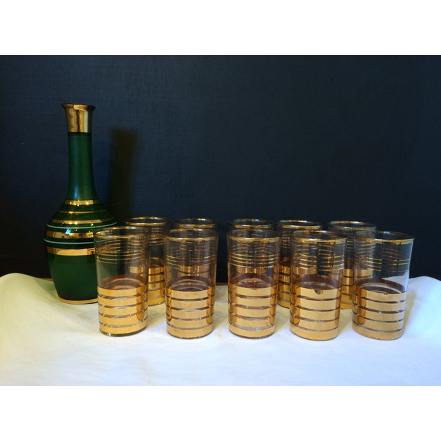 Holiday Christmas Bar Set with Culver Gold Glasses - Image 3 of 9