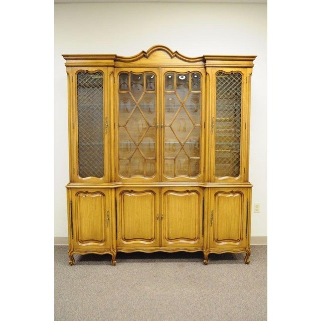 Country French Provincial Breakfront China Cabinet Walnut