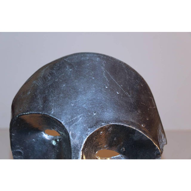 Abstract Cast Metal Bust on Marble Base For Sale In Palm Springs - Image 6 of 9