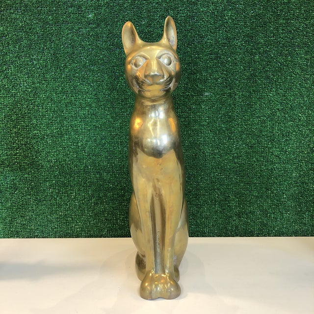 Mid-Century Modern Large Brass Cat Figure For Sale - Image 3 of 8