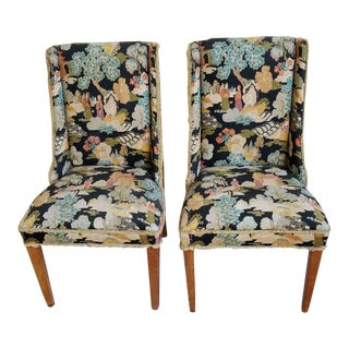 1920s Markwood Chippendale Barkcloth Chairs - a Pair For Sale
