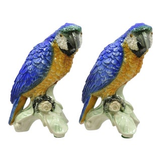 1960s Vintage Porcelain Blue Green Macaw Bird Figurines-a Pair For Sale