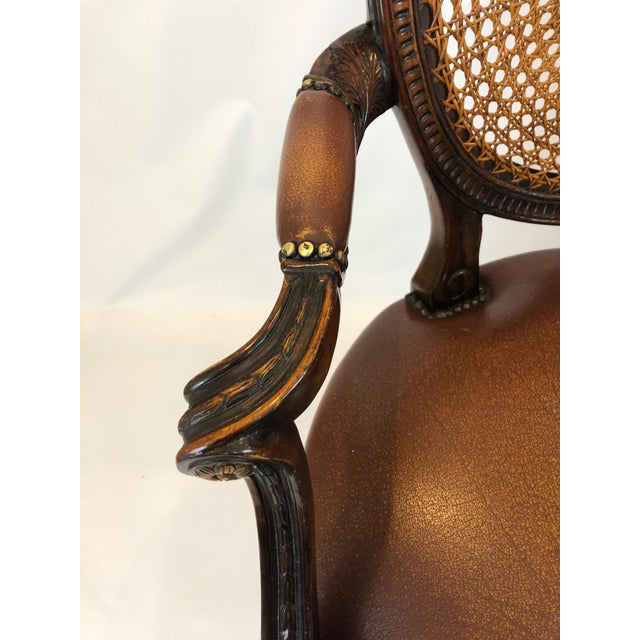 1990s Caned Cameo Back Armchair With Leather Seat For Sale - Image 5 of 12