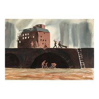 Industrial Mid-Century Watercolor 1960s For Sale