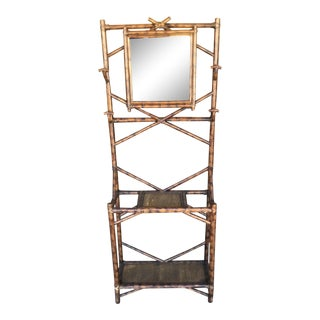 Chinoiserie Bamboo Cane Coat and Umbrella Stand Rack With Mirror, 1970s For Sale