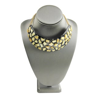 80s 90s Kjl Kenneth Jay Lane Rare Mother of Pearl Statement Necklace For Sale