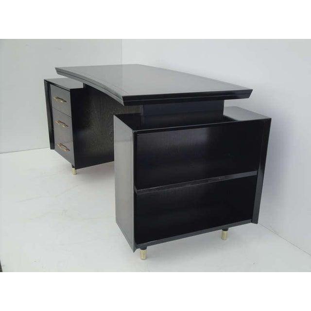 Hollywood Regency 1960s Mid Century Modern Curved Partner Desk For Sale - Image 3 of 11